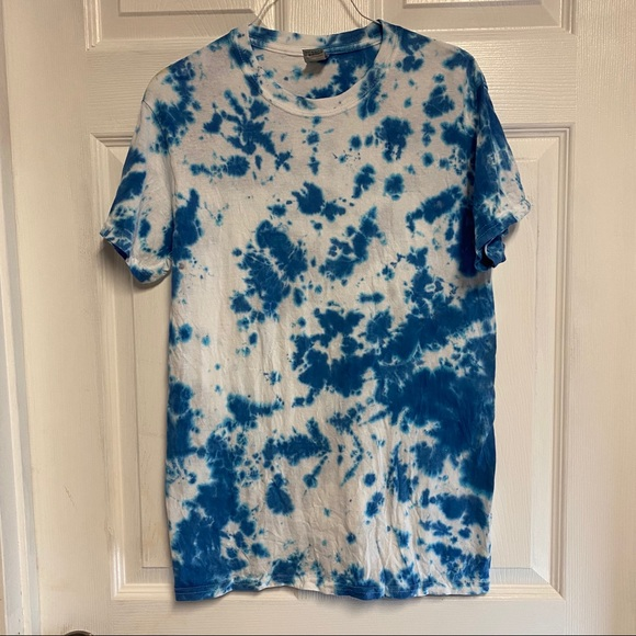 Custom blue tie dye shirt